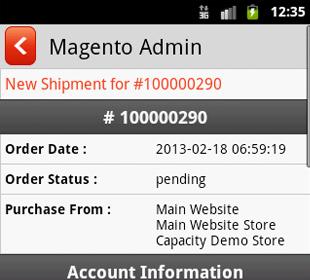 Magento mobile admin